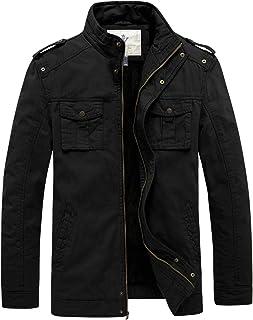 WenVen Men's Winter Twill Cotton Stand Collar Thicken Jacket