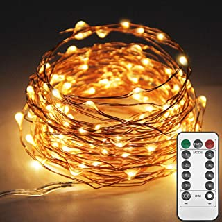 Best Twinkle Star 33ft 100LED Copper Wire String Lights Fairy String Lights 8 Modes LED String Lights USB Powered with Remote Control for Wedding Party Home Christmas Decoration, Warm White Reviews