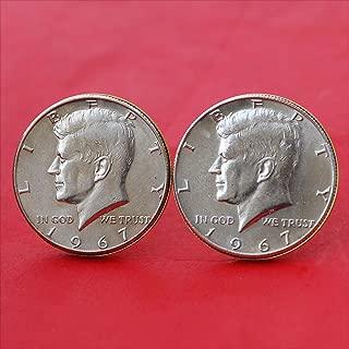 US 1967 Kennedy Half Dollar 40% Silver Coin Gold Cufflinks NEW