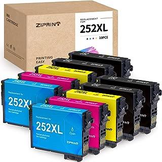 ZIPRINT Remanufactured Ink Cartridge Replacement for Epson 252 252XL T252XL use for Workforce Wf-3640 Wf-3620 Wf-7610 Wf-7620 Wf-7710 Wf-7720 Wf-7210 Wf-7110 (4Black 2Cyan 2Magenta 2Yellow, 10 Pack)