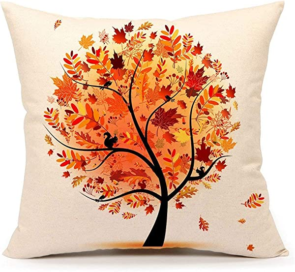 Acelive 16x16 Inches Autumn Fall Tree Cotton Linen Square Throw Pillow Case Decorative Cushion Cover Pillowcase Cushion Case For Sofa Home Office Indoor Decorative