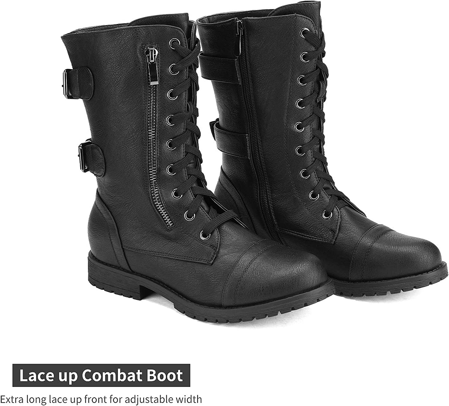 DREAM PAIRS Women's Faux Fur Lined Mid Calf Riding Combat Boots