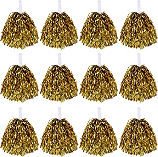 LIOOBO 12PCS 50g Fun Straight Handle Cheer Props Pompoms Cheerleading Kit Cheer Poms for Competition Sports Cheering Events Performance Golden