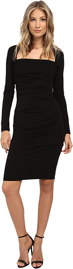 Nicole Miller - L/S Stretchy Matte Tuck Dress