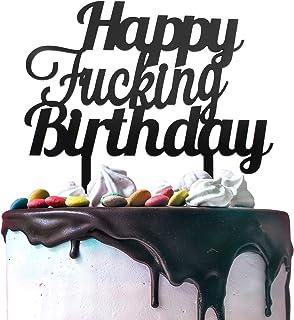 Happy Birthday Black Acrylic Cake Topper, Funny Birthday Party Decoration Supplies.