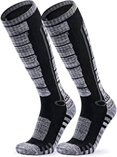 TSLA 2 Pack Men and Women Winter Ski Socks, Calf Compression Snowboard Socks, Warm Thermal Socks for Cold Weather