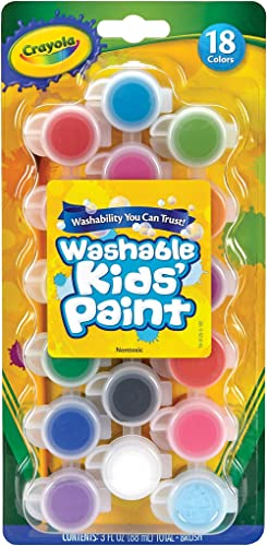 CRAYOLA 54-0125 Kids Poster Paint, 18 Coloured Mini Pots of Washable Paint, Paint Brush Included, Vivid Colours, Grea...