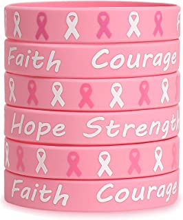 3omething New 36Ct Breast Cancer Awareness Pink Ribbon Bracelets - Hope Faith Strength Courage Wristbands Party Supplies Favors