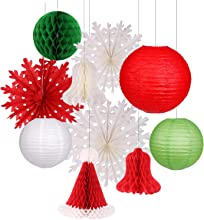 Christmas Hanging Paper Lanterns Set Decorative Lantern Lamps Christmas Santa Hats Christmas Honeycomb Bells Snowflake Fan for Christmas Party Home Decoration Party Supplies Props (Green, Red)