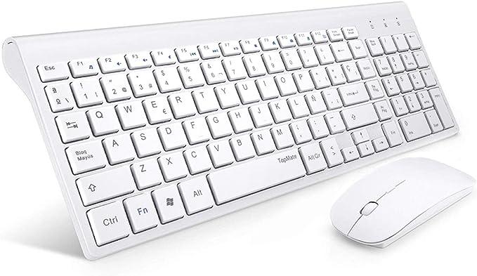 806 opiniones para TopMate Pack Teclado y Mouse Inalámbricos Ultra Delgado, 2.4G USB Compacto