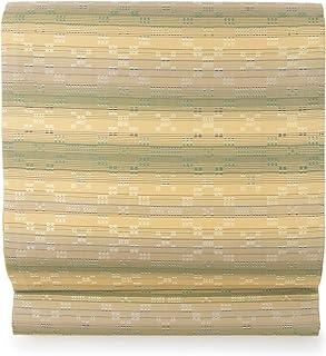(ソウビエン) 袋帯 未仕立て 本藍草木花織 薄茶色 ベージュ 灰茶色 グレージュ 緑 グラデーション 絣 花織 阿波藍 藍染 正絹 全通柄 日本製 カジュアル