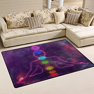 Sunlome Human System of Chakras Pattern Area Rug Rugs Non-Slip Indoor Outdoor Floor Mat Doormats for Home Decor 60 x 39 inches