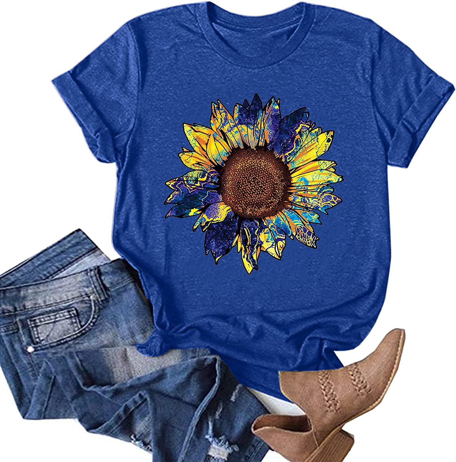 AODONG Womens Summer Tops, Women Loose fit Short Sleeve Sunflower Print Basic Blouses Tunic Tees Funny Graphic T-Shirts