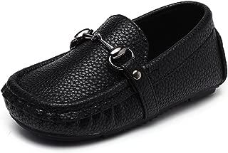 Toddler Boys Girls Soft Split Leather Slip-On Loafer Boat Dress Shoes