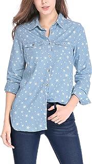 Allegra K Women's Long Sleeves Button Closure Stars Western Tunic Denim Shirt