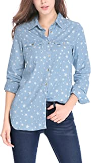 Women's Star Button Down Long Sleeve Tunics Denim Shirt