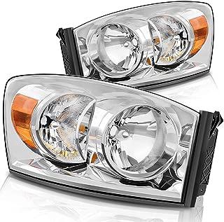 Headlight Assembly for 06-08 Dodge Ram 1500, 06-09 Dodge Ram 2500/3500 Replacement Headlamp Driving Light Chromed Housing Amber Reflector
