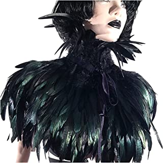 Black Gothic Victorian Natural Feather Cape Shawl Stole Poncho with Choker Collar