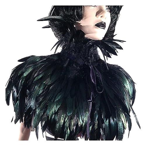 2d5e15edc2e keland Gothic Victorian Natural Feather Shrug Cape Shawl Poncho with Choker Collar  Black