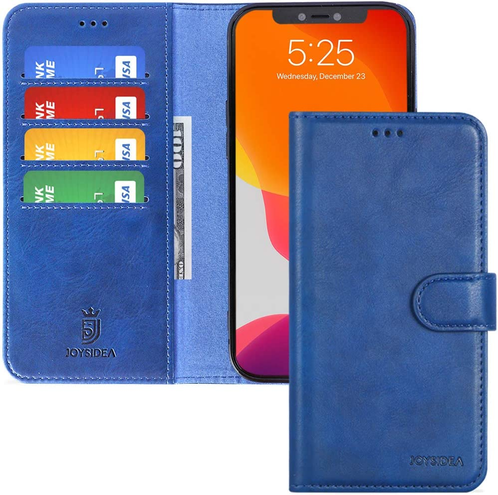 JOYSIDEA iPhone 12 Pro Max Leather Wallet Case, Premium PU Leather Flip Folio Case with 4 Card Holder, Kickstand and Shockproof TPU Cover for iPhone 12 Pro Max 6.7 inch, Blue