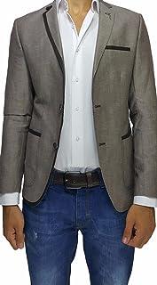 Brown Cotton Slim Fit Mens Blazer with Lapel Detail