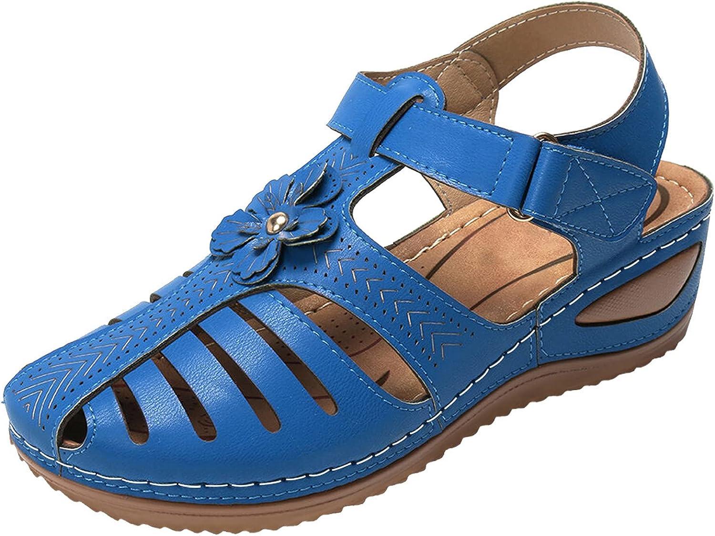 ZiSUGP Womens Ladies Wedge Vintage Bohimian Hook & Loop Hollow Out Flower Sandals Shoes