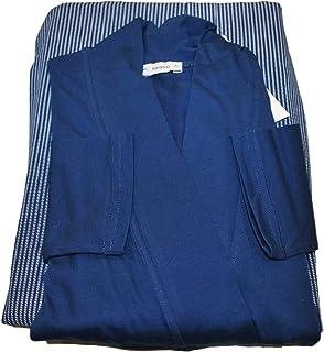 Eco Ragno Pigiama Donna 3 Pezzi Vestaglia + Canotta S/L + Pantalone Lungo in Jersey di Puro Cotone Unito E Fantasia Blu' M...