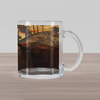 Lunarable Jurassic Glass Mug, 2 Dicraeosaurus Dinosaurs in a Prehistoric Sunrise Landscape Enormous, Printed Clear Glass Coffee Mug Cup for Beverages Water Tea Drinks, Earth Yellow Sepia