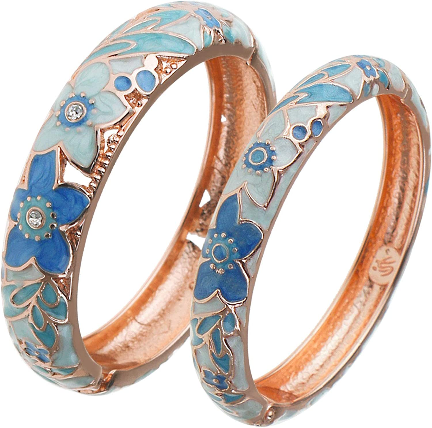 UJOY Vintage Jewelry Cloisonne Handcrafted Enameled Gorgeous Rhinestone Rose Gold Hinged Cuff Bracelet Bangles Gifts 88A10