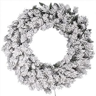 Vickerman Flocked Snow Ridge Wreath, 36-Inch, Flocked White on Green