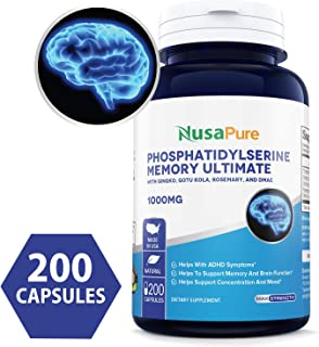 Phosphatidylserine 1000mg 200caps (Non-GMO & Gluten Free) Nootropic Brain Supplement - Mental Clarity, Memory, Focus and Brain Booster