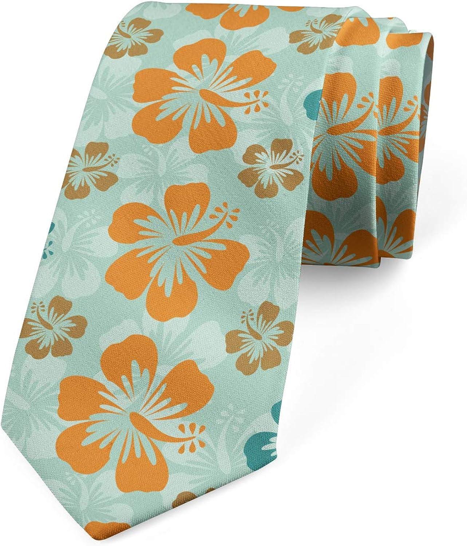 Lunarable Necktie, Hawaiian Plant Hibiscus, Dress Tie, 3.7