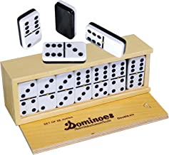 Dominoes Double 6, Tournament Size, Two Toned with Spinner (center) Rivets, in wooden case