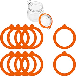 10 Pieces Silicone Jar Gaskets Replacement, Silicone Gasket Sealing Airtight Rubber Seals Canning Rings for Regular Glass ...