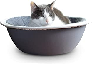 Hepper - Nest Cat Bed - Modern Cat Furniture - Cat Bowl with Removable & Washable Fleece Liner - Grey/White