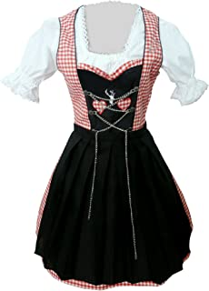 Women-s Di04,3 Piece Mini Dirndl-s Dress-ES, Drindle-s Blouse, Apron, Sizes 4-22