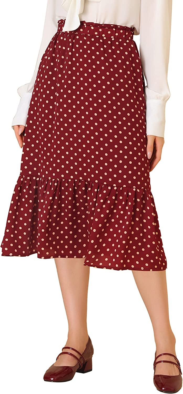Allegra K Women's Polka Dots Elastic Waist Elegant Flowy Midi Chiffon Ruffle Skirt