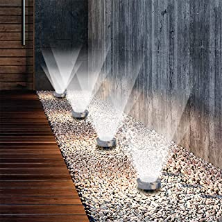 Ganeed Solar Ground Lights, LED Disk Lights Waterproof Solar Lights Outdoor for Garden Lawn Pathway Patio, Stone look Sola...