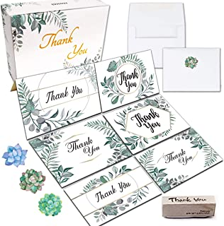 Thank You Cards 4 x 6 inch - 54 Count Greeting Cards on Linen Paper, Envelopes, Matching Stickers, Craft Wooden Rubber Stamp in Gift Box - Occasion Cards for Birthdays Weddings Party