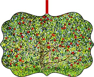 Artist Gustav Klimt Apple Tree Painting-1912-TM Double-Sided Benelux Aluminum Holiday Hanging Tree Ornament Made in the USA!