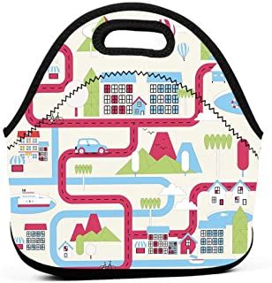 Portable Lunch Bag Carry Case Tote Container Bags,Cartoon Downtown Cars Ships And Bicycles Balloons Shops Apartments Mountains Life,Unisex Outdoor Travel Fashionable Handbag Pouch for Kids