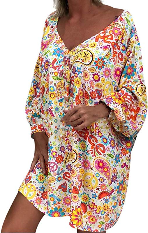 PerfectCOCO Women Off Shoulder Mini Dresses Bohemian Print V Neck Long Sleeve Irregular Casual Dress Sundress
