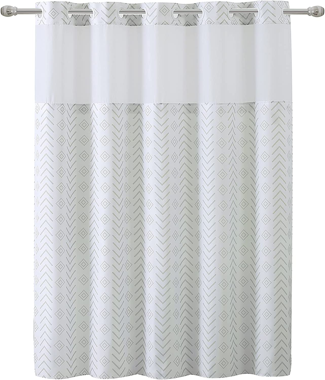 Hookless Tribal Shower Curtain with Peva Liner Atlanta Mall 71 74 X Taupe Inexpensive