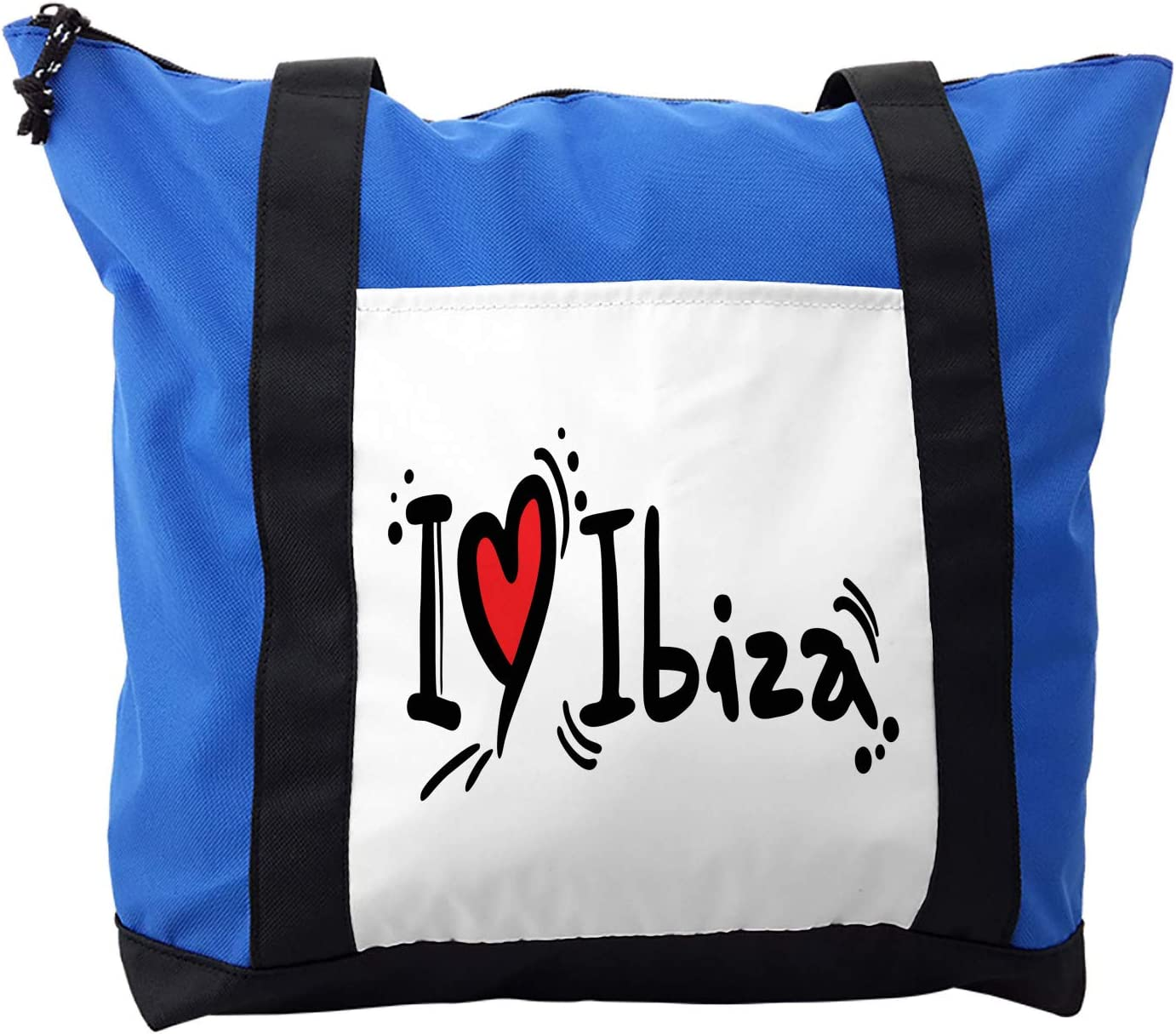 Lunarable Ibiza Shoulder Bag, Hand Lettering Holiday, Durable with Zipper