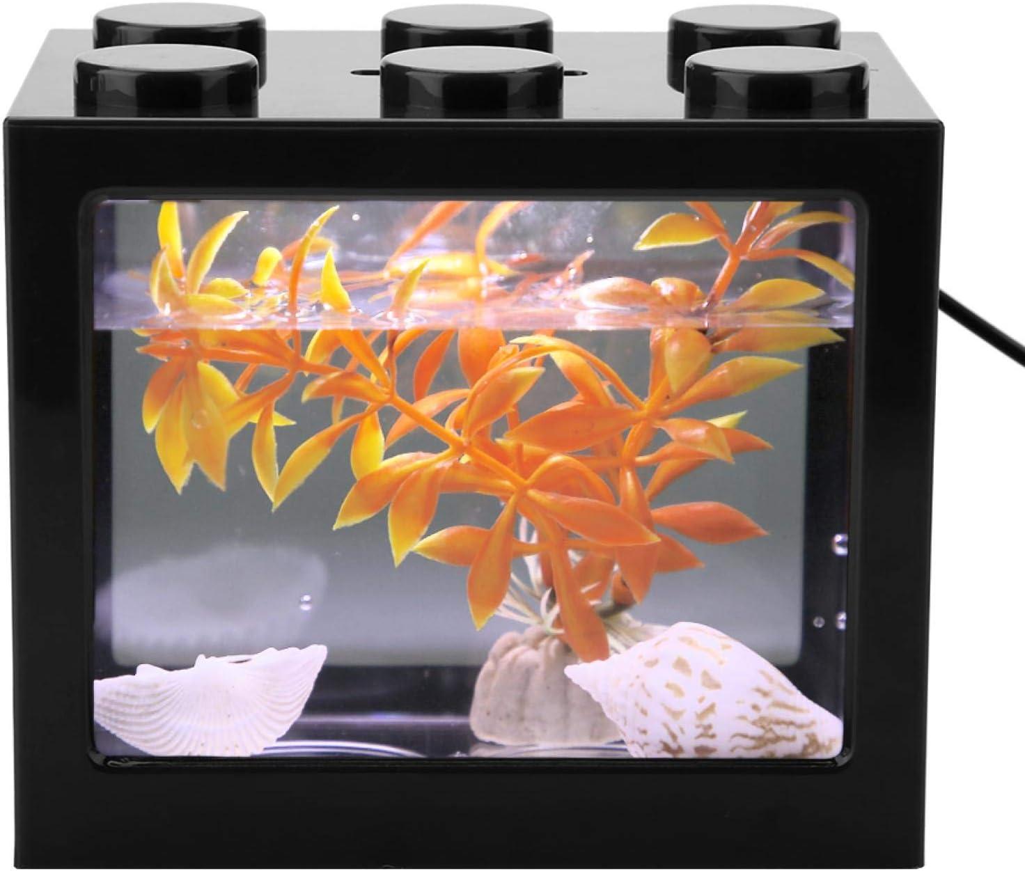 White 【Venta del d/ía de la Madre】 Peque/ño Tanque de Peces Mini Acuario de Carga USB ecol/ógico Resistente a la corrosi/ón Mini Forma Exquisita Sala de Estar para Oficina Mesa de t/é en casa