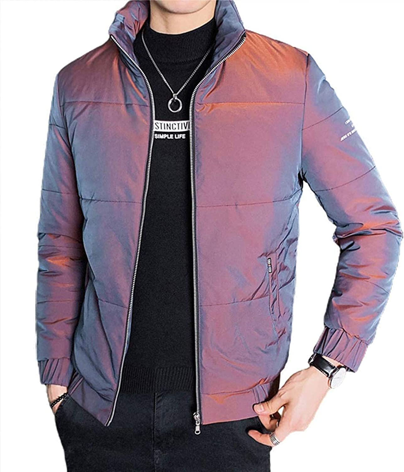 Men's Shinny Thickened Casual Padded Winter Alternative Down Jacket