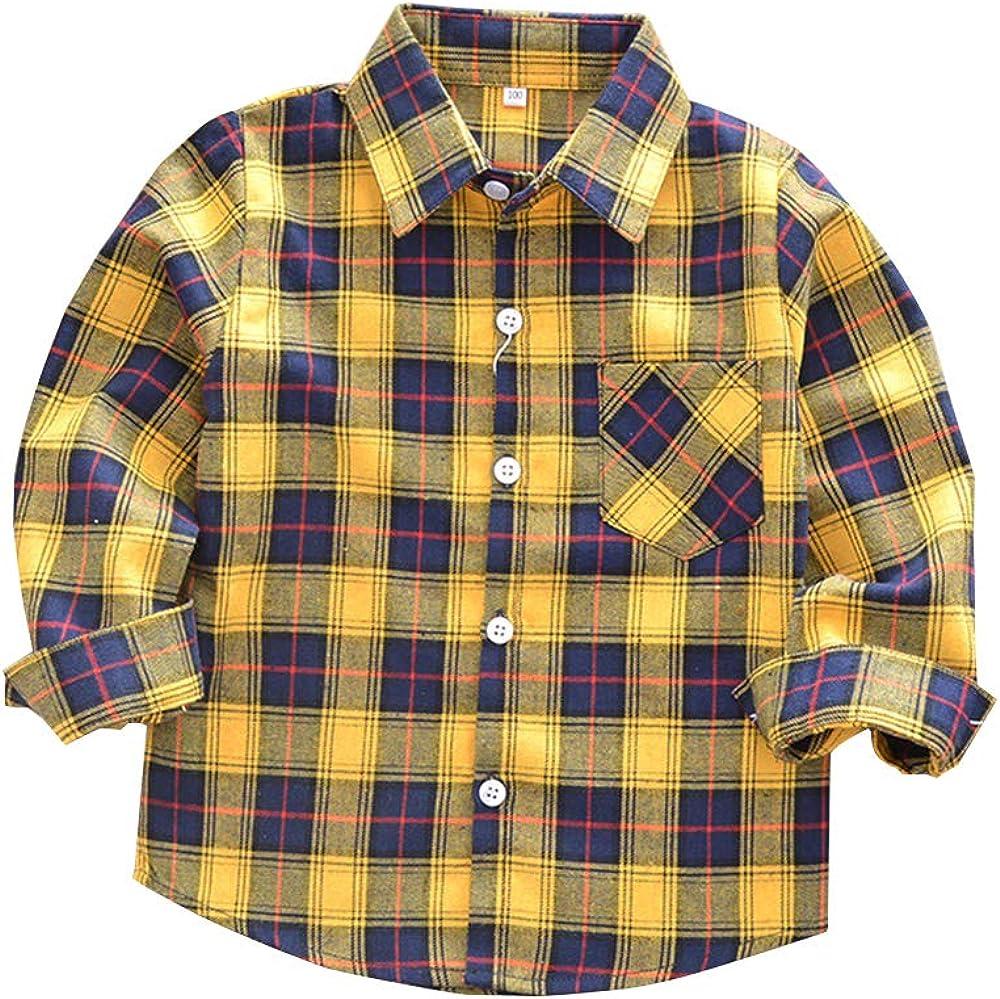 Kids Little Boys Girls Baby Long Sleeve Button Down Red Plaid Flannel Shirt Plaid Girl Boy NB-6T: Clothing
