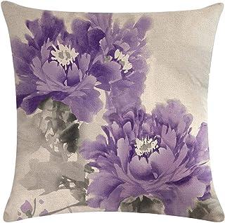 Minshang - Funda de cojín con diseño de flores de tinta para sofá, color morado