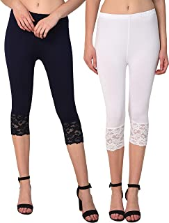Sangani Women Premium Cotton Spandex Capri with Lace Inset at Bottom Hem (Combo 2 pcs)
