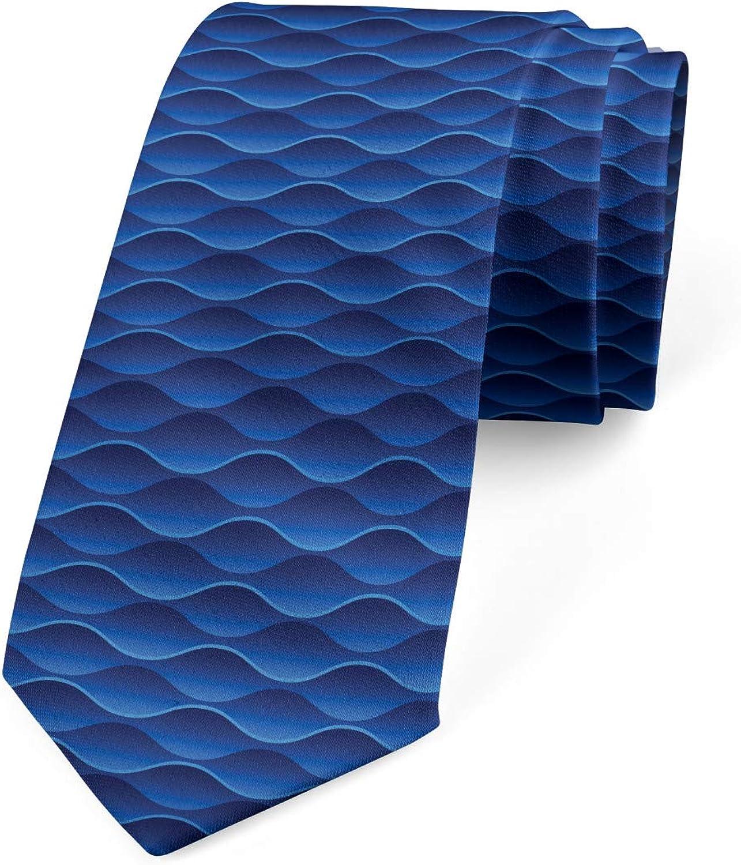 Lunarable Men's Tie, Horizontal Curvy Lines, Necktie, 3.7